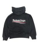 バレンシアガ BALENCIAGA 2018年製 子供服 パーカー スウェット プルオーバー オーバーサイズ フーディセーター 長袖 キャンペーンロゴ 6 黒 ブラック /KH