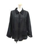 レオナール LEONARD シアーシャツ ジップアップ 長袖 総柄 42 黒 ブラック /TK