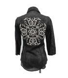 ロアー roar シャツ ブラウス リネン ペイズリー 刺繍 七分袖 0 黒 ブラック /YM