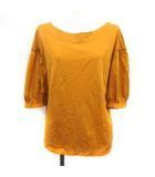 アドーア ADORE Tシャツ カットソー 5分袖 38 からし色 マスタード /YM