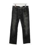 イヴサンローラン YVES SAINT LAURENT デニム ジーンズ パンツ ストレート YSL ロゴ 46 黒 ブラック /KH