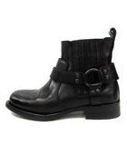 ディーゼルブラックゴールド DIESEL BLACK GOLD ブーツ ショート レザー ローヒール ベルト 36 黒 /YI26