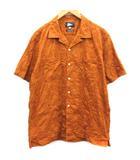 ピルグリムサーフ Pilgrim Surf L シャツ オープンカラー 刺繍 茶 ブラウン /EK