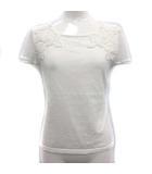 エリザ ELISA カットソー ニット 花柄 刺繍 レース 半袖 2 白 ホワイト /YM