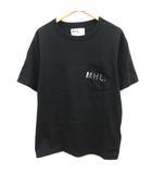 マーガレットハウエル MHL. L 20SS PRINTED COTTON JERSEY Tシャツ カットソー 半袖 黒 ブラック /EK
