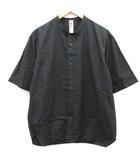 マーガレットハウエル MHL. L 20SS COTTON RAMIE POPLIN シャツ バンドカラー 半袖 黒 ブラック /EK