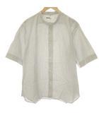 マーガレットハウエル MHL. L 20SS COTTON LINEN STRIPE シャツ 半袖 ストライプ 白 グレー /EK