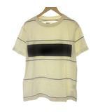 マーガレットハウエル MHL. M 20SS BLOCK PRINT STRIPE JERSEY Tシャツ カットソー 半袖 ベージュ /EK
