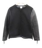 サンシー SUNSEA 2 13AW ライダースジャケット シングル レザー ノーカラー ジップアップ 切替 黒 ブラック /EK