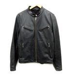 ユナイテッドアローズ UNITED ARROWS District M ライダースジャケット シングル ラムレザー 羊革 ジップアップ 黒 ブラック /EK
