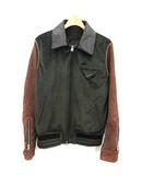 グラム glamb 19SS ボンバージャケット Muff Bomber JKT ベロア スエード 切替 ジップアップ 0 緑 茶 グリーン ブラウン /KH
