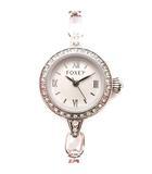 フォクシー FOXEY 腕時計 オリジナル ブレス ウォッチ チェーン クオーツ シルバー 白 /☆G