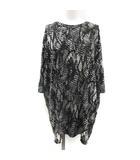 エムエムシックス MM6 メゾンマルタンマルジェラ カットソー Tシャツ チュニック 七分袖 総柄 S 黒 ブラック /KT