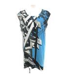 メゾンマルジェラ Tシャツ カットソー ノースリーブ ロング 標識 プリント M 青 グレー /YM