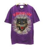 グッチ GUCCI L 18SS Tシャツ カットソー Blind for Love パンサーレイ スパンコール 半袖 紫 パープル /EK