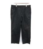 ルイヴィトン LOUIS VUITTON パンツ ストレート ワイド 刺繍 LV コットン 44 XL 黒 ブラック /KH
