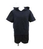 メゾンマルジェラ Maison Margiela パーカー プルオーバー フェイクレイヤード 半袖 S 紺 ネイビー 黒 /YM
