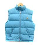 モンクレール MONCLER 子供服 ダウンベスト スタンドカラー ワッペン ジップアップ 14A 164cm 青 ブルー /KH