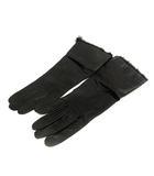 セルモネータ Sermoneta 手袋 グローブ レザー ファー 黒 ブラック /SR