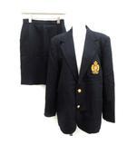 160A ヴィンテージ スーツ セットアップ 上下 テーラードジャケット スカート ひざ丈 ウール 紺 ネイビー /EK ●D