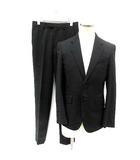スーツ セットアップ 上下 テーラード ジャケット スラックス パンツ ウール S 黒 /YI42 ●D