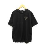 アベイシングエイプ A BATHING APE AAPE カットソー Tシャツ プリント リフレクターロゴ ストレッチ 半袖 XL 黒 ブラック /YO26