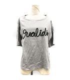 19SS Tシャツ カットソー ロゴ 半袖 綿 コットン混 36 S グレー 黒 ブラック /PJ