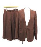 トゥモローランドコレクション TOMORROWLAND collection 19AW スーツ セットアップ 上下 ノーカラージャケット キュロット パンツ 36 S 茶 ブラウン /KH
