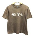 ナンバーナイン NUMBER (N)INE 3 L Tシャツ カットソー ダメージ加工 スカル 半袖 茶 ブラウン /EK