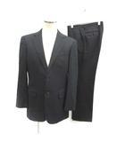 スーツ セットアップ 上下 テーラードジャケット シングル 総裏地 サイドベンツ パンツ スラックス ストライプ ウール 94A6 M 紺 ネイビー/KT