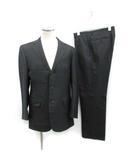 スーツ セットアップ 上下 テーラードジャケット シングル 総裏地 サイドベンツ パンツ スラックス ストライプ ウール 94A6 黒 ブラック /KT