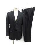 スーツ セットアップ 上下 テーラードジャケット シングル 総裏地 センターベント パンツ スラックス ストライプ ウール 94A6 M 紺 ネイビー /KT
