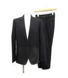 96 LIMITED スーツ セットアップ 上下 ジャケット パンツ ウール レザー 切替 40 L 黒 /KH