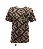 2018年製 Tシャツ カットソー 半袖 ズッカ柄 ワッペン カットソー 茶 黒 ブラウン ブラック /KH ●D
