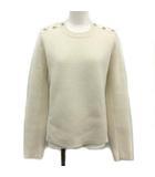 シャネル CHANEL 20AW ニット セーター 長袖 カシミアエポール ココマーク ココボタン 40 M アイボリー P65574 K61372 /KH
