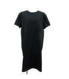 21SS ワンピース Tシャツ 半袖 ひざ丈 マイクロ 刺繍 42 L 黒 ブラック /KH