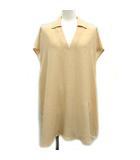 21SS ブラウス シャツ チュニック プルオーバー 半袖 刺繍 シルク 42 L ベージュ /KH