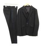 1 S スーツ セットアップ 上下 ジャケット テーラード パンツ スラックス ウール 黒 ブラック /EK