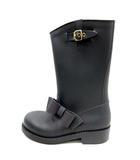 レッド ヴァレンティノ RED VALENTINO レインブーツ 長靴 ロング ラバー ローヒール リボン 36 23cm グレー /YI13 ●D