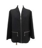 エルメス HERMES 20SS ジャケット ノーカラー CHAINE D'ANCRE シェーヌダンクルチェーン アンカーチェーン ディティール ジップアップ ウール 40 XL 黒 ブラック /KH