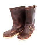 ユケテン yuketen ロングブーツ Pull On Boots スネークブーツ バックジップ レザー  ビブラムソール 23 茶  /☆G