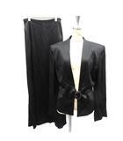 ヨシエイナバ yoshie inaba セットアップ 上下 ジャケット スーツ ノーカラー スカート フレア ロング 9 M 黒 ブラック /SR