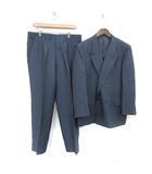 英國屋 EIKOKUYA スーツ セットアップ 上下 テーラードジャケット ダブル 背抜き サイドベンツ パンツ スラックス 青 ブルー /MF20 ●D