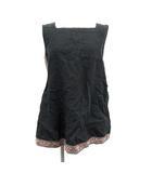 チュニック カットソー ノースリーブ スクエアネック 刺繍 リネン 1 S 黒 ブラック /KH