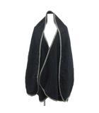 ミディウミ MidiUmi ポンチョ パイピングコート フード付き ウール アンゴラ混 ロング 無地 紺 ネイビー /PJ