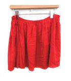 ミュウミュウ miumiu スカート ミニ フレア ギャザー シルク 42 XL 赤 レッド /YM