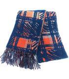 ヴィヴィアンウエストウッド Vivienne Westwood マフラー ストール チェック オーブ 刺繍 ネイビー オレンジ /☆G