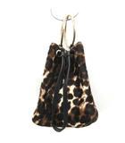 メゾンボワネ MAISON BOINET ハンドバッグ 巾着 リングハンドル ハラコ レオパード 茶 ブラウン /EK
