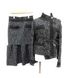 サカイ sacai 20SS スーツ セットアップ 上下 ジャケット スカート ベルテッド ツイード 変形 1 2 S M 黒 ブラック /KH