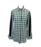 バーバリー BURBERRY シャツ 長袖 チェック サイドライン 34 青 水色 黒 グリーン /☆G